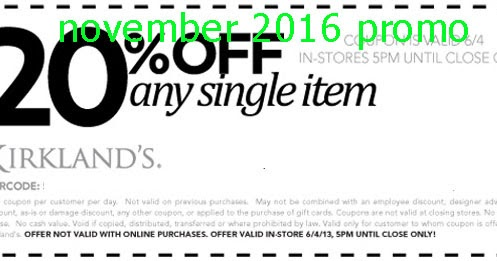 Find the best Kirkland's coupons, promo codes and deals for December All coupons hand-verified and guaranteed to work. Exclusive offers and bonuses up to % back!