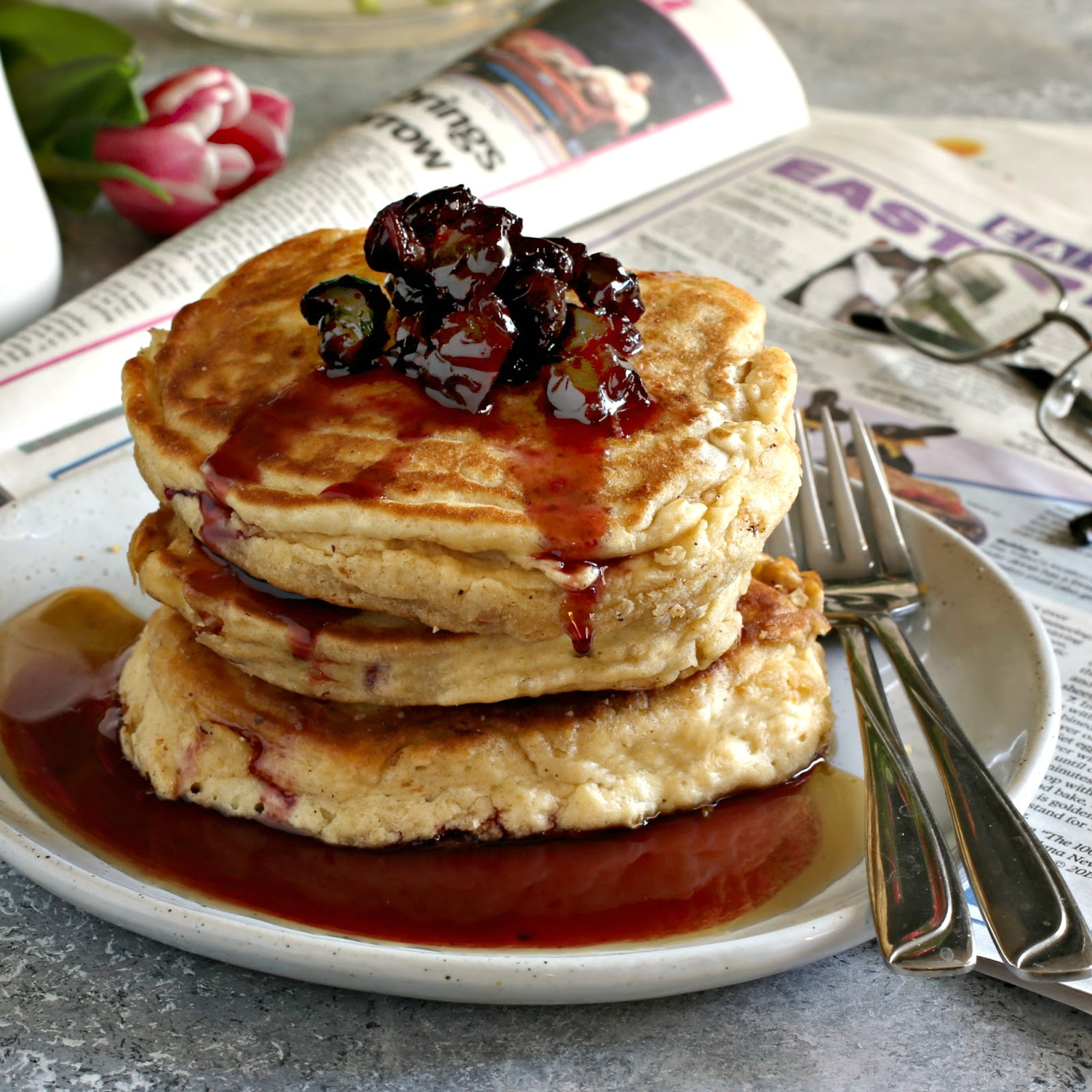 Extra fluffy pancakes made with whole eggs and beaten egg whites.