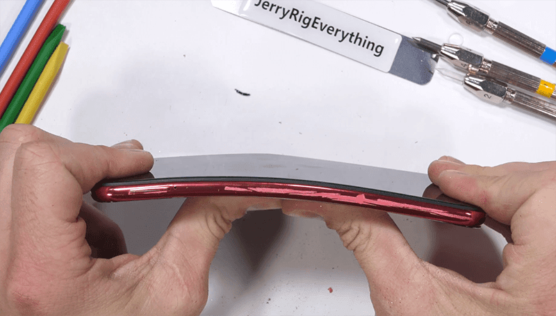The plastic frame during the bend test