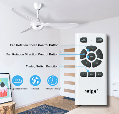 Reiga 52-inch Ceiling Fan with LED Light and Remote Control US $193