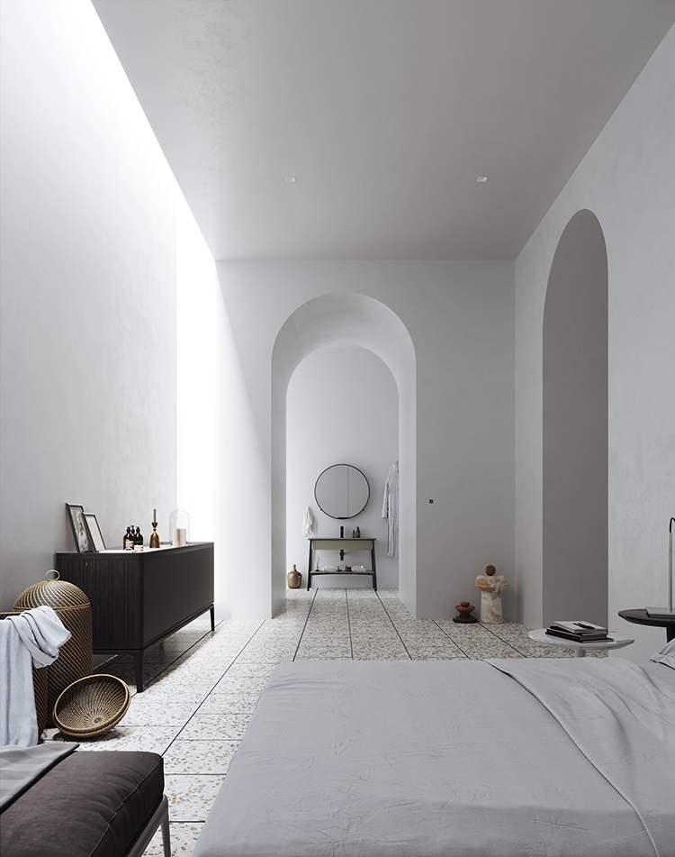 Bedroom without windows, windowless bedroom, windowless interior, linear skylight, archway, terrazzo floor tiles. Design by DILM Studio