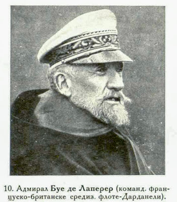 Admiral Bour de Lapeyrere, Commandant of the Anglo-French Mediterranean Fleet (Dardanelles).