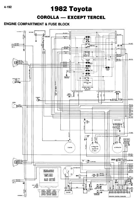 repair-manuals: Toyota Corolla 1982 Wiring Diagrams