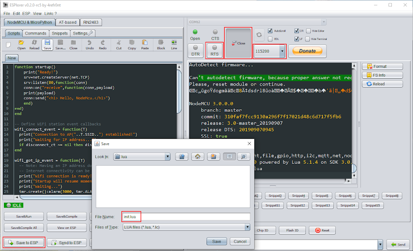 ESPlorer IDE main window