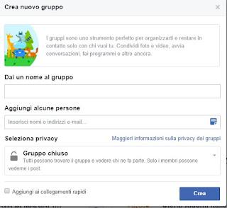Creazione gruppo di Facebook