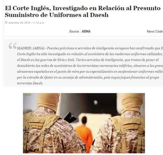 CNA  EL CORTE INGLÉS investigado por suministrar uniformes al DAESH-ISIS ab6c18c8f2a40