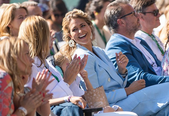 Princess Madeleine wore Massimo Dutti Suit from Spring Summer Collection 2018. Madeleine and Princess Leonore at Gröna Lund theme park in Stockholm
