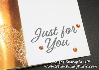 Rhinestones colored with StampinUp's Calypso Coral Stampin Blend matches Copper Foil Paper.