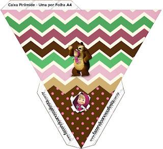Caja con forma de pirámide de Masha y el Oso.