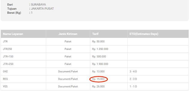 Ongkir JNE dari Surabaya ke Jakarta.