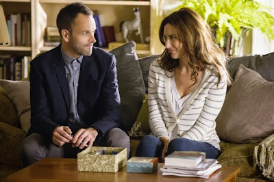Laura Benanti and Jonny Lee Miller as Anne Barker Abigail Spencer and Sherlock Holmes in CBS Elementary Season 2 Episode 4 Poison Pen