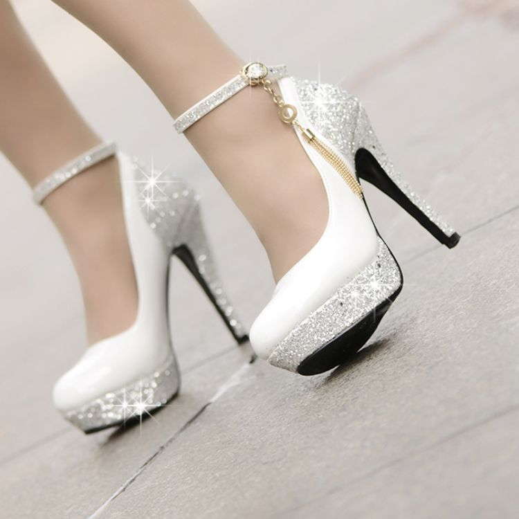 Designed Chester Chic High Heels Platform Tassel Wedding Shoes Small One Yard