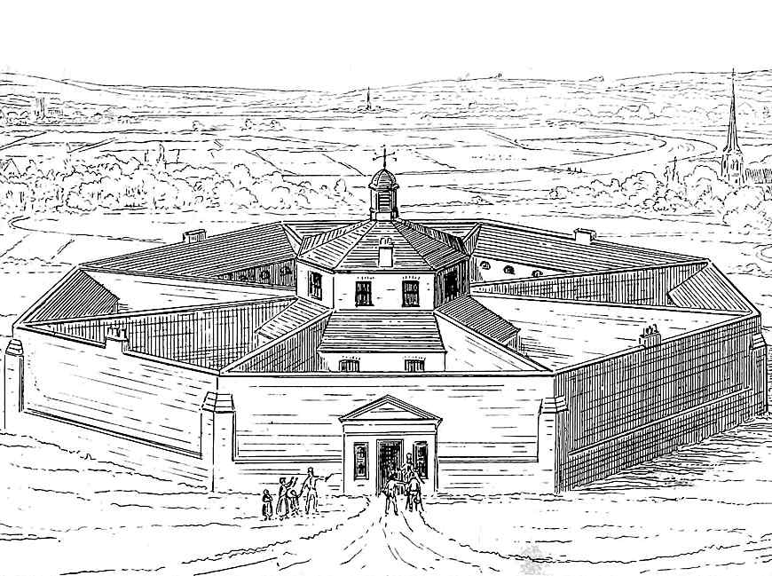 1841 poorhouse in England, exterior view illustration
