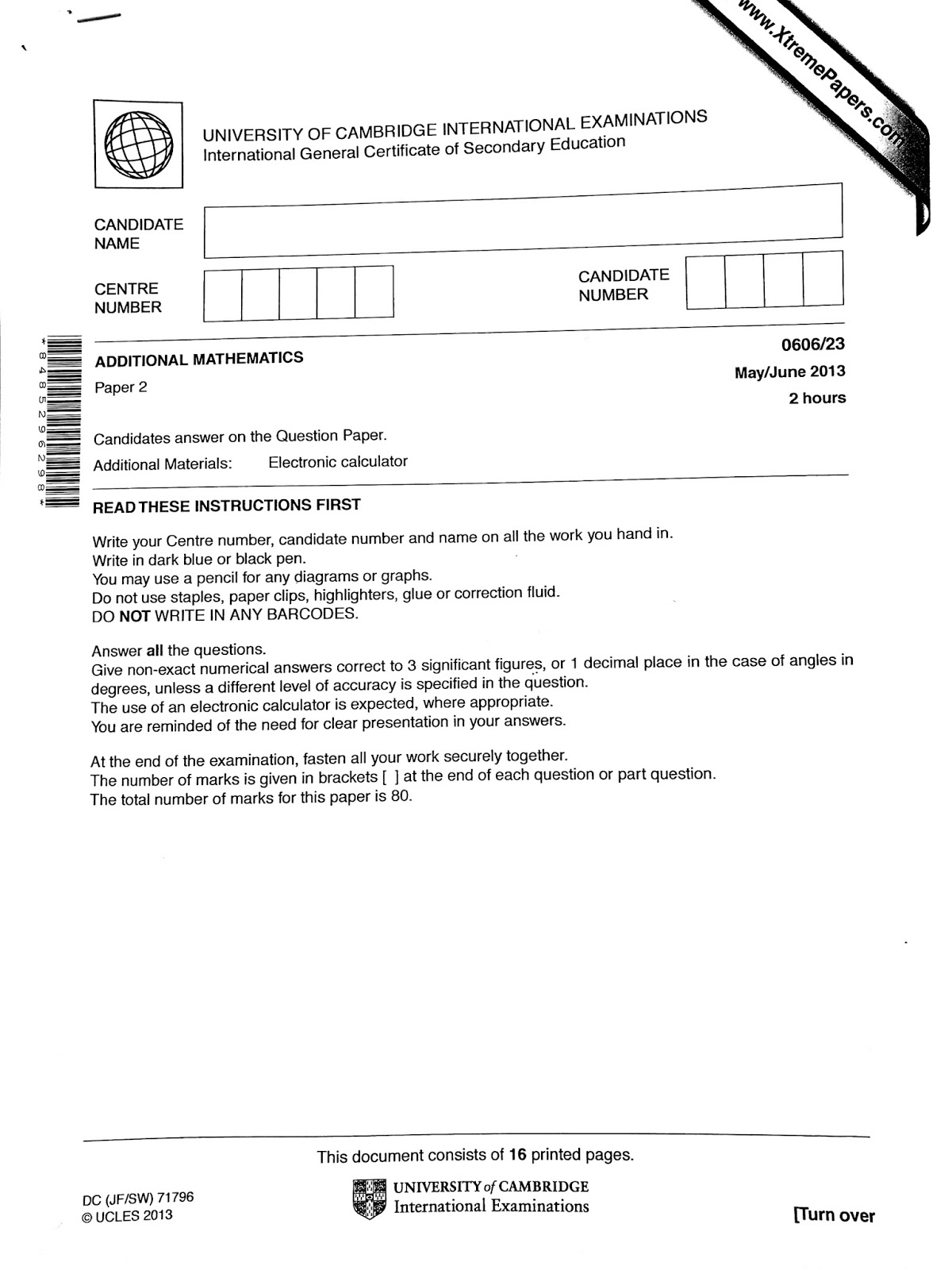 IGCSE Add Maths Working Answers [0606/23] Paper 2 2013 (May