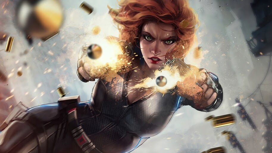 Black Widow, Shooting, Bullets, Movie, Art, Natasha Romanoff, 4K, #7.1580