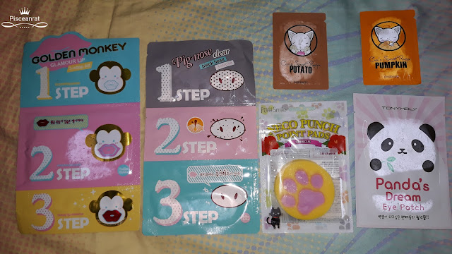Holika Holika Pig-nose Clear, Golden Monkey Glamour Lip, Pure Smile Neco Punch, Tony Moly Panda's Dream Eye Patch, dearberry Potato and Pumpkin