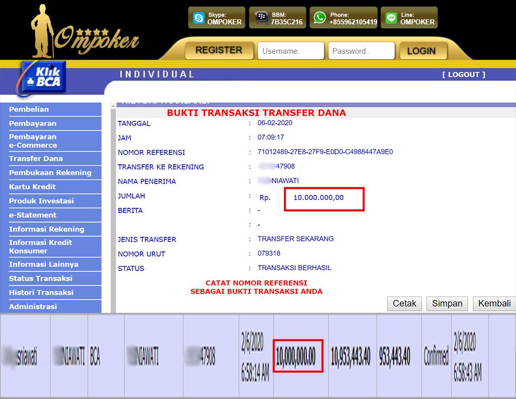 Selamat Kepada Member Setia Ompoker WD Rp 10.000.000