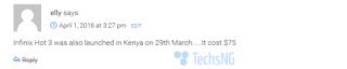 Infinix Hot 3 price in Kenya