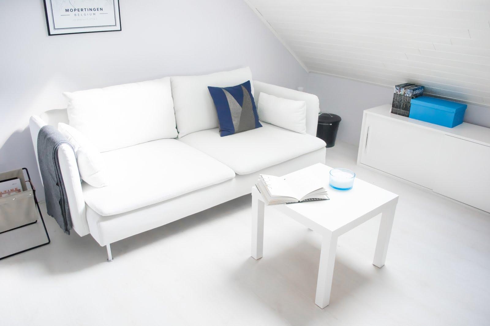 Ikea soderhamn, white cover, herman magazine holder, ferm living, maison popineau cushion