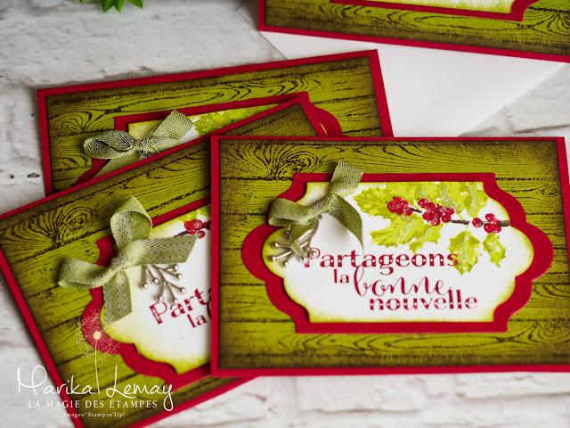 Cartes de Noël Stampin'Up ! crées avec l'ensemble Bouquet de houx