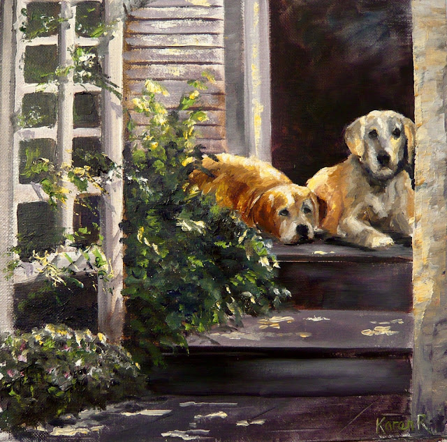 An oil painting of two labradors sitting on the front steps in dappled sunlight