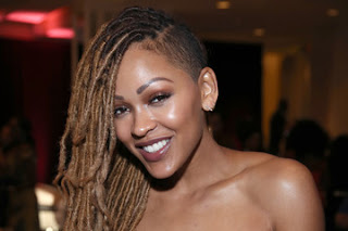 Meagan Good long blonde goddess locs with shaved side