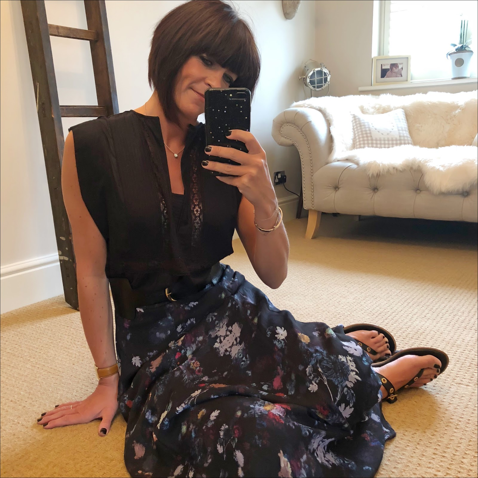 my midlife fashion, isabel marant etoile voile top, and other stories waist buckle belt, lily and lionel floral maxi skirt, iro paris eyelet leather sandals