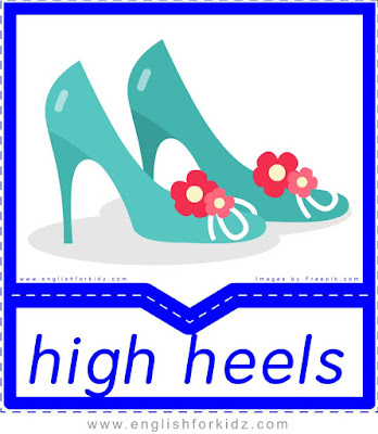 High heels - English clothes and accessories flashcards for ESL students
