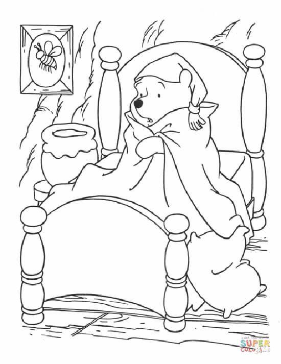 Tranh cho bé tô màu gấu Pooh 03