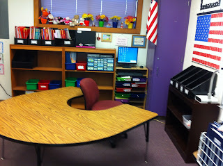 The guided reading table where I do small group reading as part of my balanced literacy.