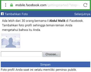 masukkan foto profil facebook