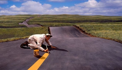 funny man painting road line joke picture