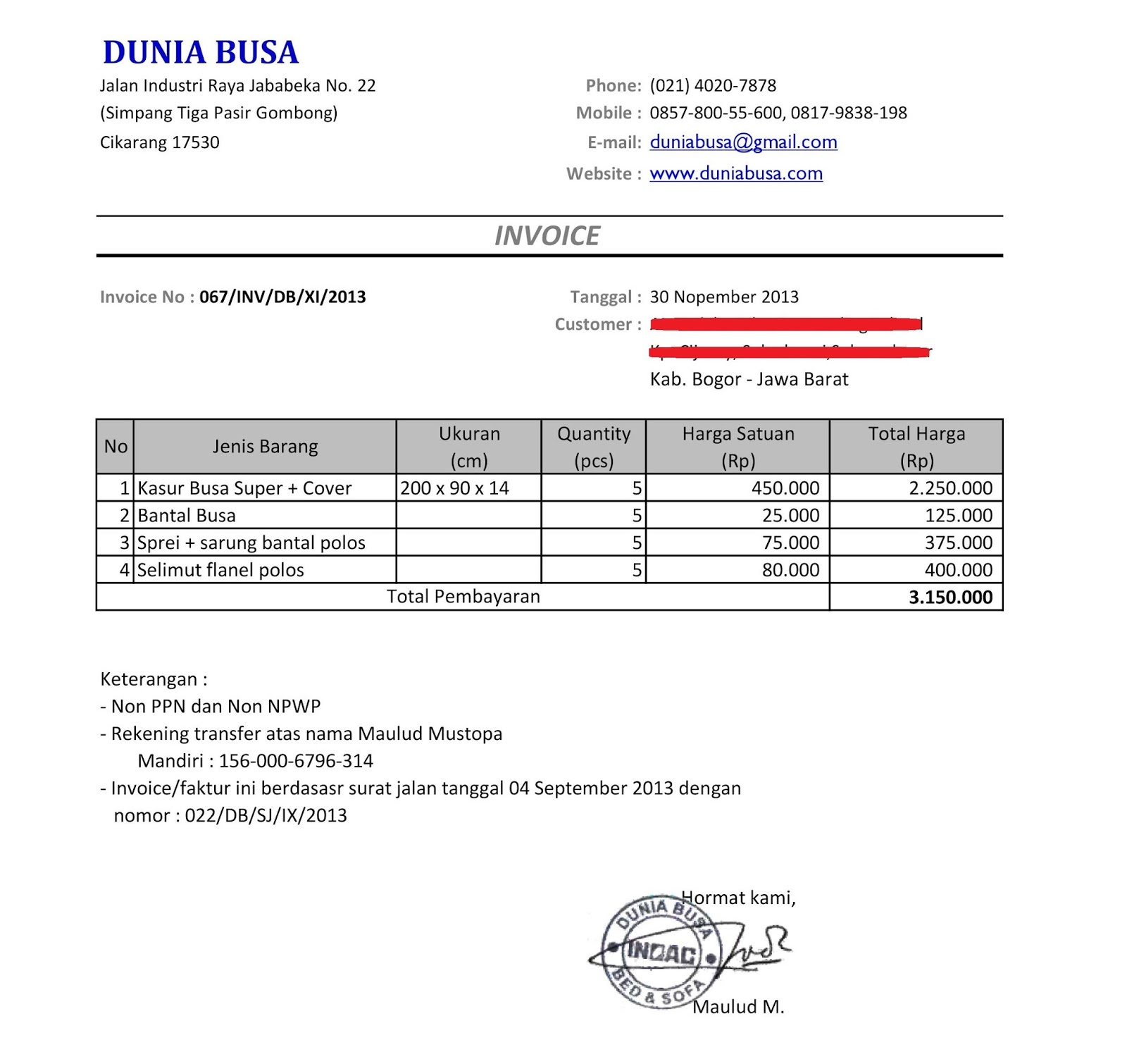 Contoh Invoice Dengan Down Payment Healthy Body Free Mind