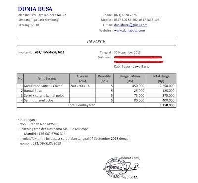 Contoh Invoice dari Dunia Busa (Pemesanan Kasur)