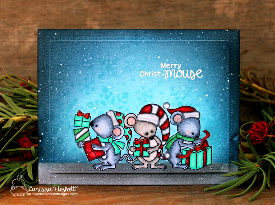 Christmas Mice Card by Larissa Heskett | Naughty or Mice Stamp Set by Newton's Nook Designs #newtonsnook #handmade