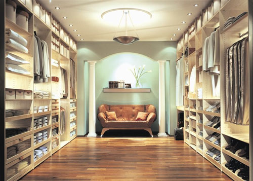 luxury closets design with lighting