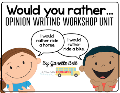 """Set up a """"Would You Rather?"""" opinion writing station in your classroom. Project the """"Would You Rather?"""" choice of the day on your Smartboard. Write opinions all year long by having a """"Would You Rather?"""" Wednesday. Make each of your students a """"Would Your Rather?"""" opinion writing book. There are 50 """"Would You Rather?"""" opinion questions in this unit. Download, print and start having your students write about their opinions."""