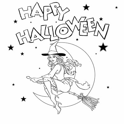Free Halloween printable pictures for kids to color witch flying on a star and moon magic broomstick