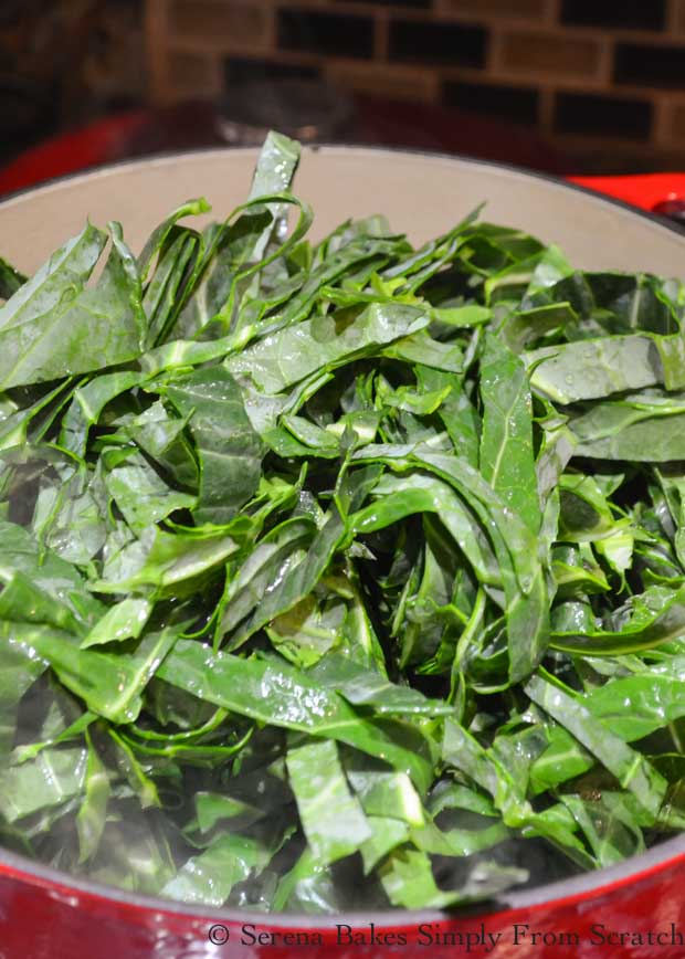 Large pot of Collard Greens from Serena Bakes Simply From Scratch.