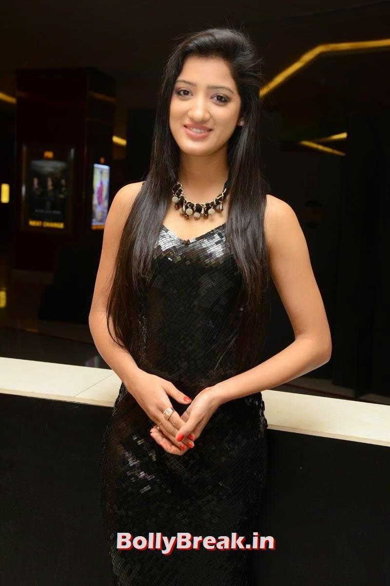 Richa Panai Stills, Richa Panai Hot Hd Pics in Shiny Black Short Dress