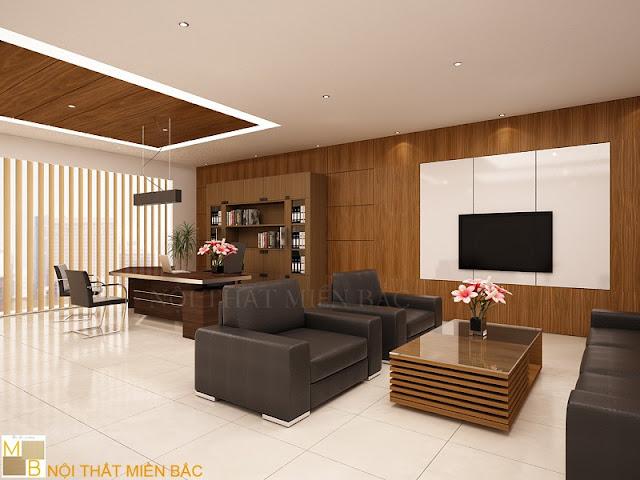 Bàn giám đốc hiện đại có màu sắc nhã nhặn cùng những đường nét độc đáo tạo sự hài hòa cho căn phòng