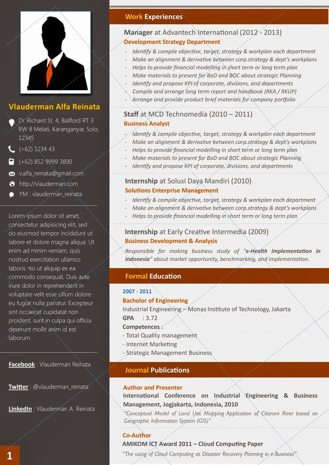 Desain CV Kreatif: Elegana Lite - Contoh Curriculum Vitae