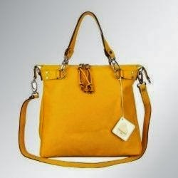 CAVALCANTI Italian Light Orange Calf Leather Designer Tote Handbag