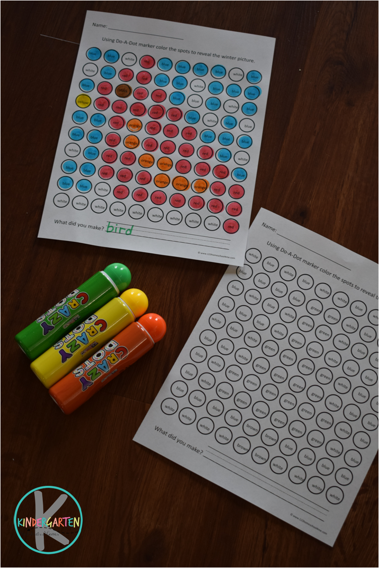 Kindergarten Worksheets and Games: FREE Winter Do a Dot Printables