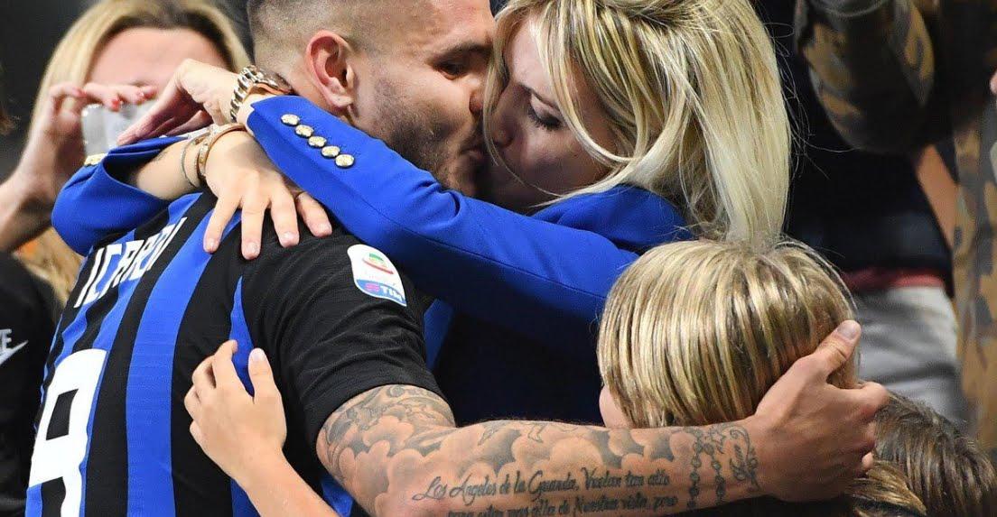 Appassionante Bacio tra Mauro Icardi e Wanda Nara nel Derby Inter-Milan.