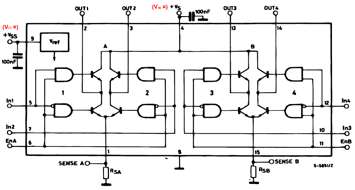 L298N 晶片內部功能示意圖