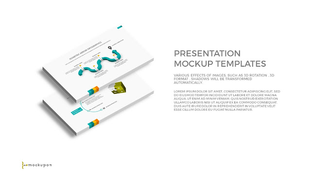 Free PowerPoint Template with 3D Layered  2 Screen Mockups