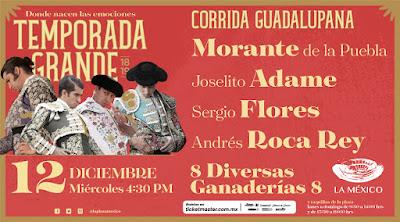 CARTEL TOROS toreros corrida guadalupana 2018 plaza mexico joselito adame roca rey sergio flores