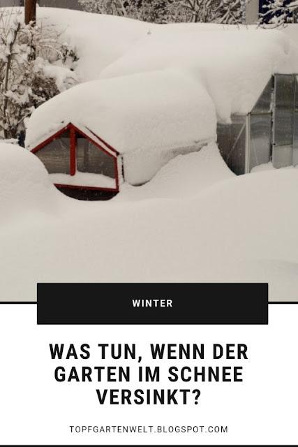 Schnee im Garten ist zum einem Schutz und zum anderen Gefahr. Zu große Schneelasten können Schaden an Pflanzen und Gewächshaus anrichten. Einsetzendes Tauwetter kann zu Staunässe in Töpfen führen. Auch wenn der Garten in Schnee und Eis versinkt, gibt es einiges zu tun! #schnee #garten #winter #topfgartenwelt