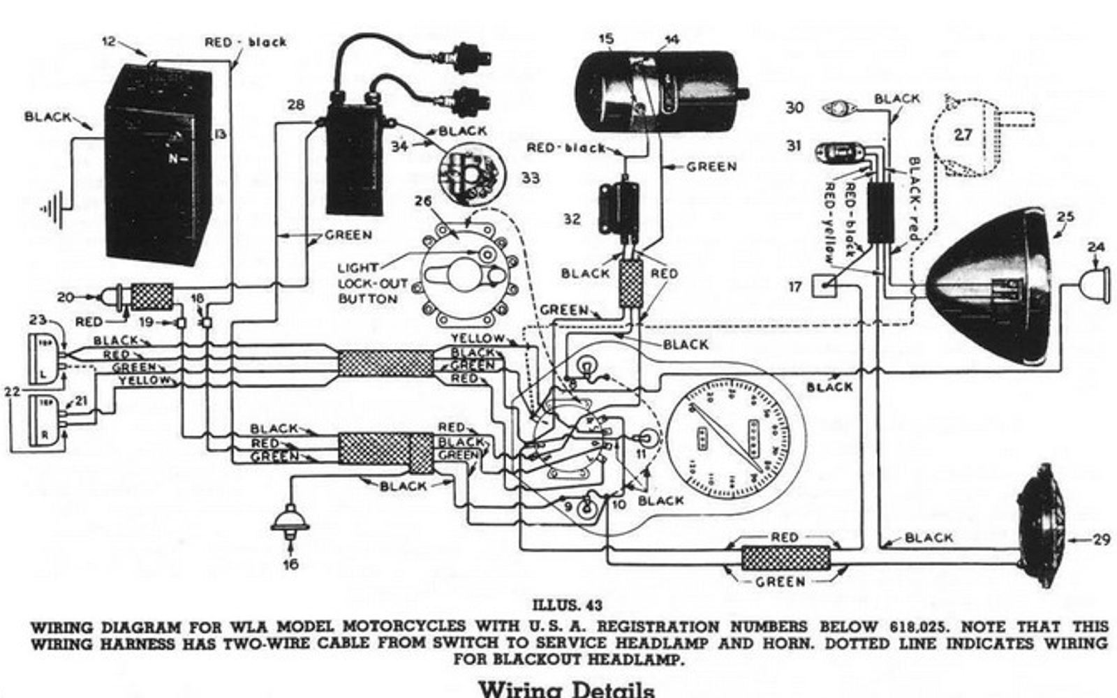 I have started re-wiring the Harley. Here is a wiring diagram from the WLA  Manual (for early models).